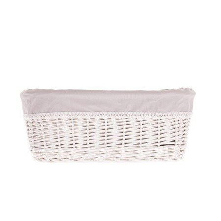 BLEACHED STORAGE BASKET / BATHROOM BASKET WITH FABRIC