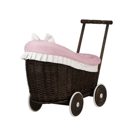 DARK BROWN WICKER DOLL CARRIER WITH PINK COVER