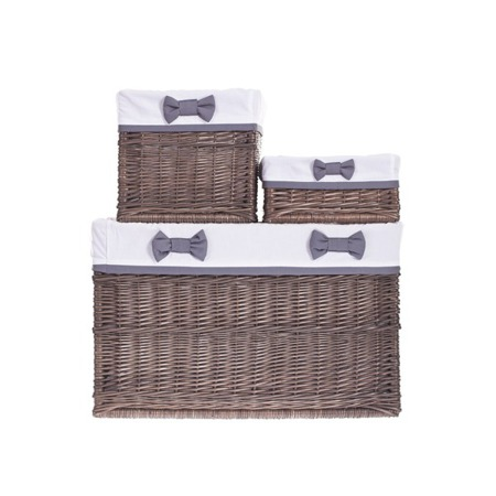 SET OF BROWN BASKETS WITH WHITE HEM AND GRAY BOW