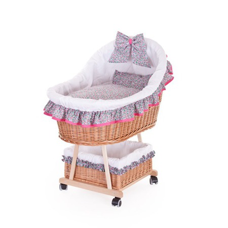 basket for a child with bedding, baby wicker pram