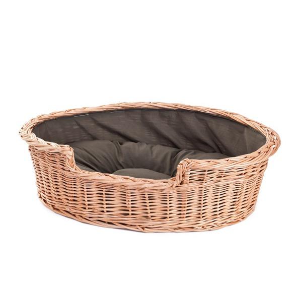 hundekorb aus weide oval mit einem kissen kontakt k rbe f r tiere online shop mit. Black Bedroom Furniture Sets. Home Design Ideas